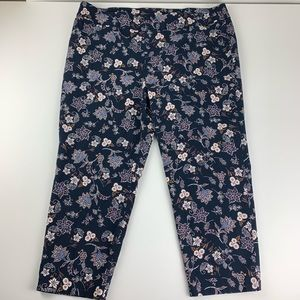 Avenue Blue Floral Pants Womens 24 Plus  Stretch